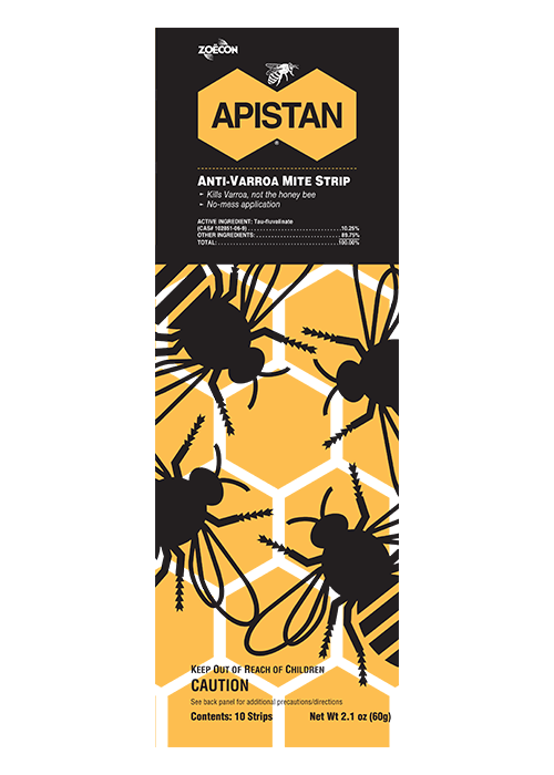 Front of package of Apistan Anti-Varroa Mite Strips